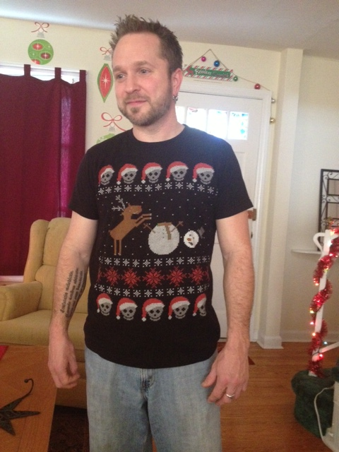 Isn't my handsome so festive? Best Christmas shirt ever.