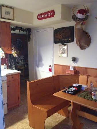 Kitchen. (Don't mind the festive looking buck head.)